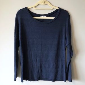 Michelle Navy Knit Long Sleeve Top
